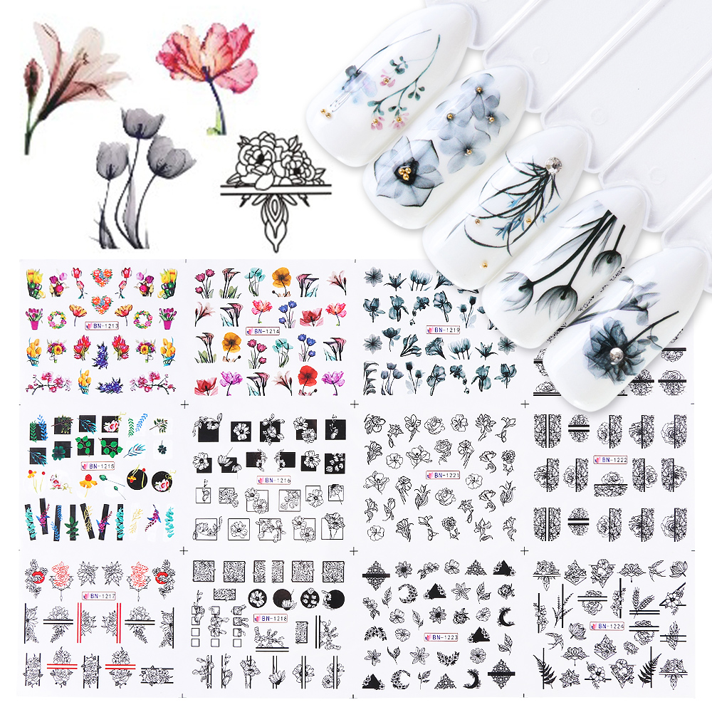 12pcs Water Nail Sticker Watercolor Ink Lace Flowers Hollow Design Gel Manicure Slider For Nail Decals Wraps Paper JIBN1213-1224