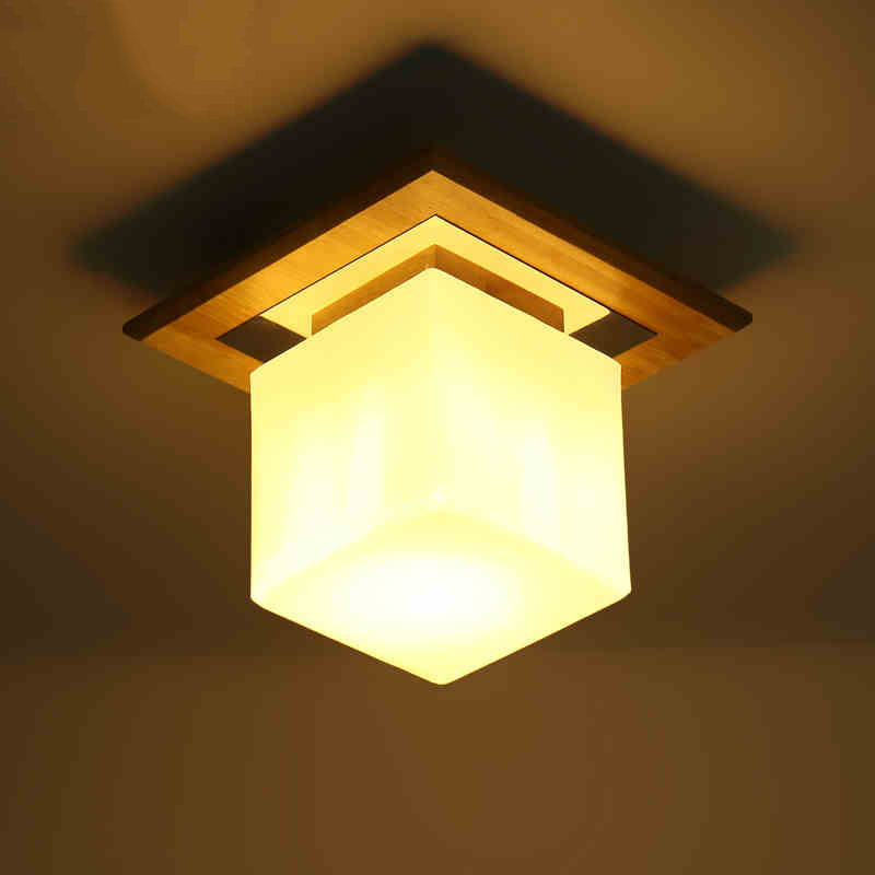 Fashion Simple Porch Wood Glass Lampshade Ceiling Light Fxitrue Home Deco Square Balcony E27 Bulb Ceiling Lamp indoor lighting fumat stained glass ceiling lamp european church corridor magnolia etched glass indoor light fixtures for balcony front porch