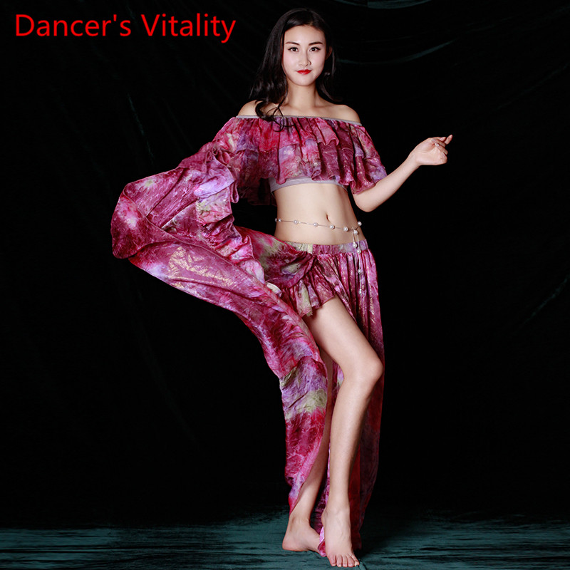 New Professional Fashion Irregular Sleeve Top Skirt Sexy Belly Dance 2pcs Set For Women/Female/Lady, Costume Performance Wears