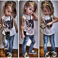 New Fashion Cartoon Cat Vest + Jeans 2 Pieces Sets White Shirt Baby Girls Clothing Suits Casual Tracksuits Kids T Shirts Pants