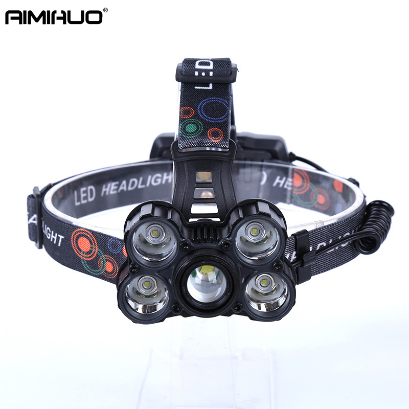 AIMIHUO LED HeadLight XML-5T6 glare rechargeable headlamp super bright 5LED headlights rotating zoom outdoor Flashlight Head sitemap 59 xml