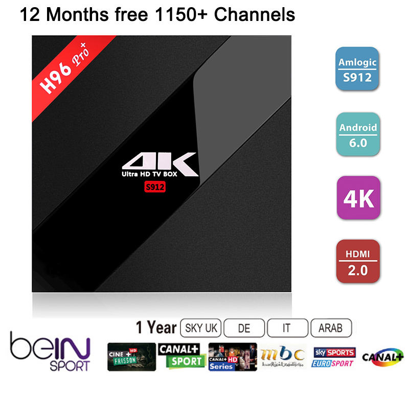 ФОТО H96 Pro+ TV BOX S912 Android 6.0 3G/32G Smart tv+1 Year Arabic French UK portugal Italy iptv europe server 1150+ Channels Canal+