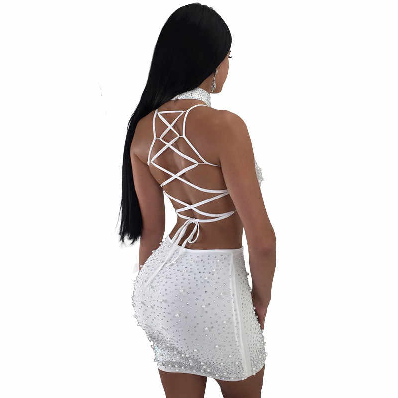 Sheer Mesh Pearls 3 Piece Set Women Sexy Night Club Outfits Choker+Spaghetti Straps Lace Up Backless Crop Top+Mini Skirt