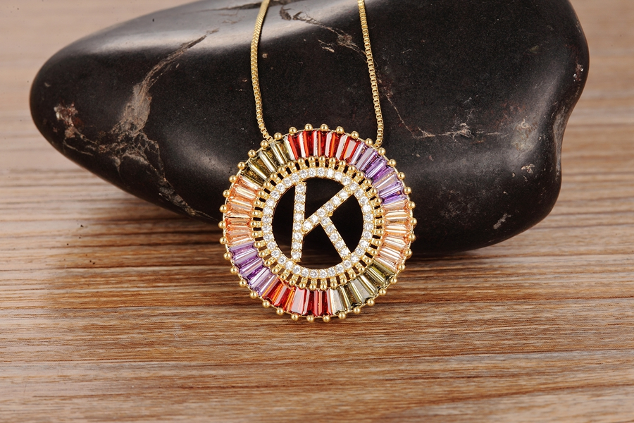 New Arrival Gold Color Micro Pave Rainbow CZ Cubic Zirconia A-Z Initials Letter Pendant Necklaces For Women Girls Fine Jewelry 5