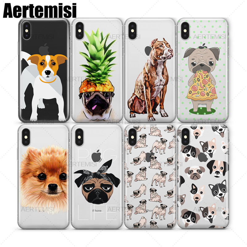 Aertemisi Phone Cases French Bulldog German Shepherd Husky Puppy Clear TPU Case Cover for iPhone 5 5s SE 6 6s 7 8 Plus X
