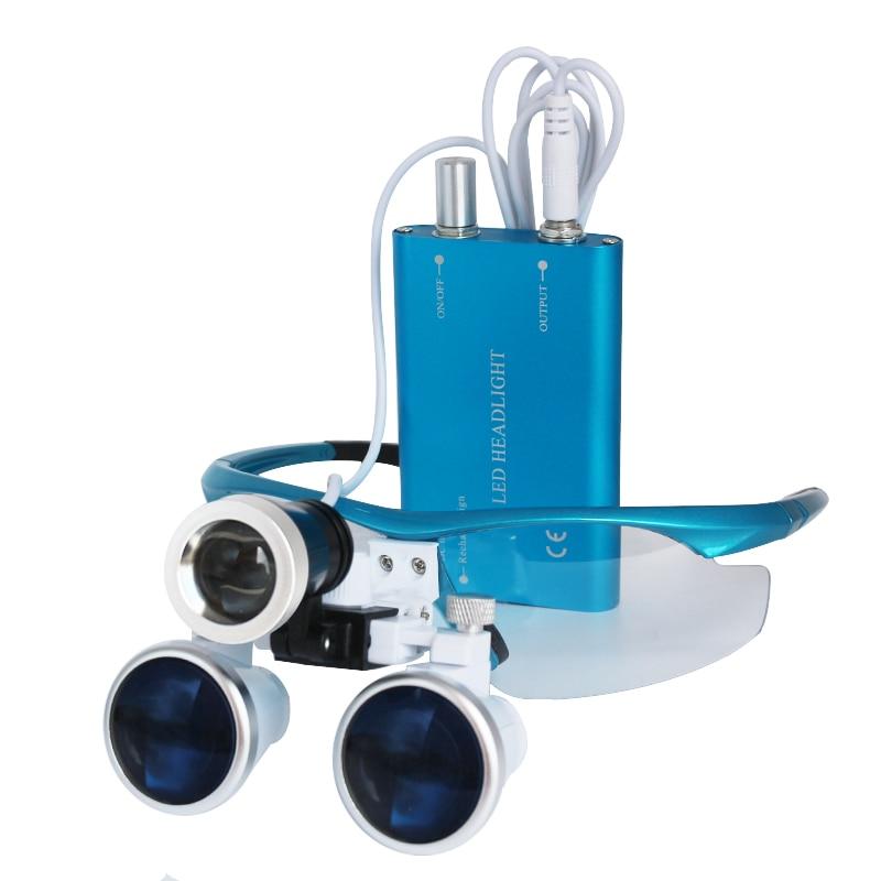 Lupas dentales, gafas con lentes de aumento de 3,5 X y 420 mm para cirugías, equipos dentales, lupas de cirugía para dentistas con lámpara LED de cabeza. - 2