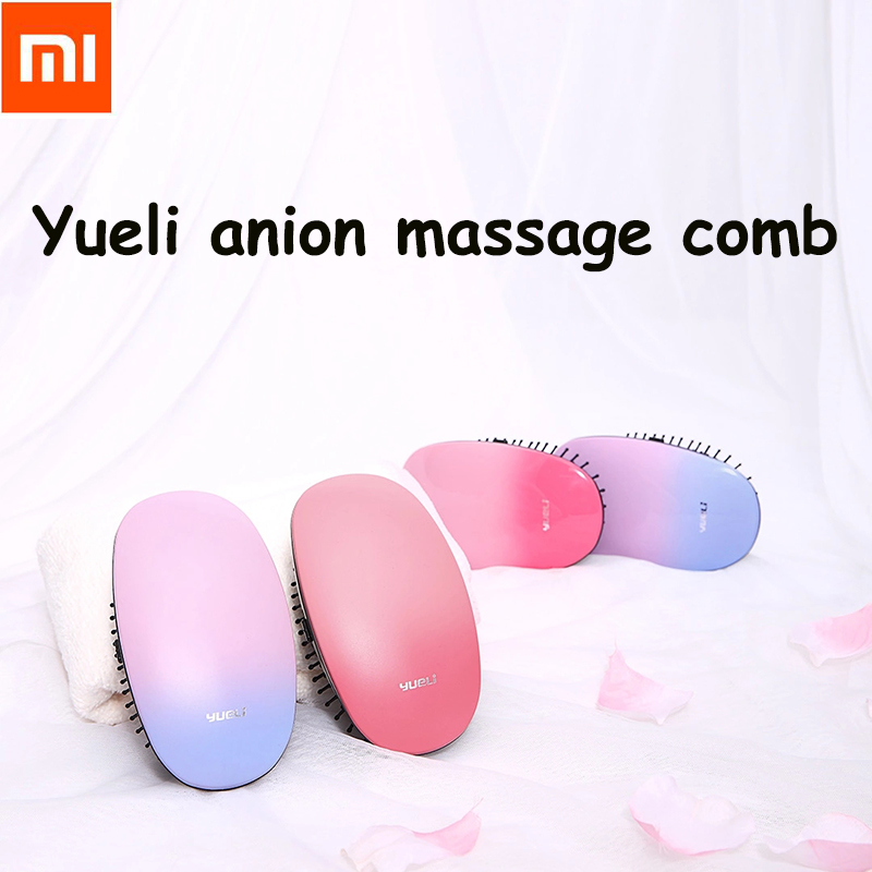 Xiaomi Yueli Portable Hair Massage Comb brush Care Beauty Anion Hair Salon Styling Tamer Tool Brushes Negative ions Hairbrush hair care hight quality real ebony black comb 1 piece health care hair styling tools hair brushes best gift