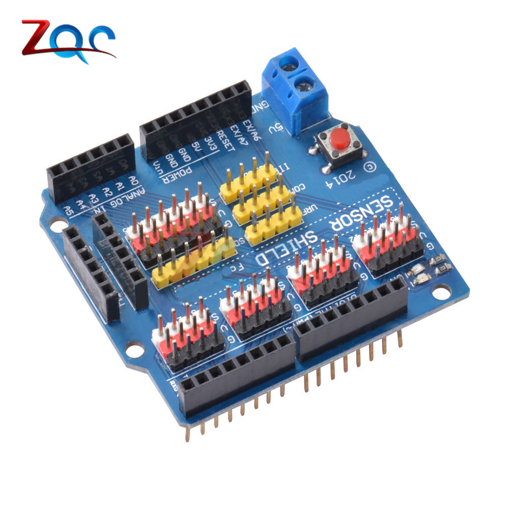 V5 Sensor Shield Expansion Board Shield For Arduino UNO R3 V5.0 Electronic Module Sensor Shield V5 Expansion board One doit uno starter kit for smart car chassis with arduino uno r3 board l298n motor drive shield tracking module dupont line