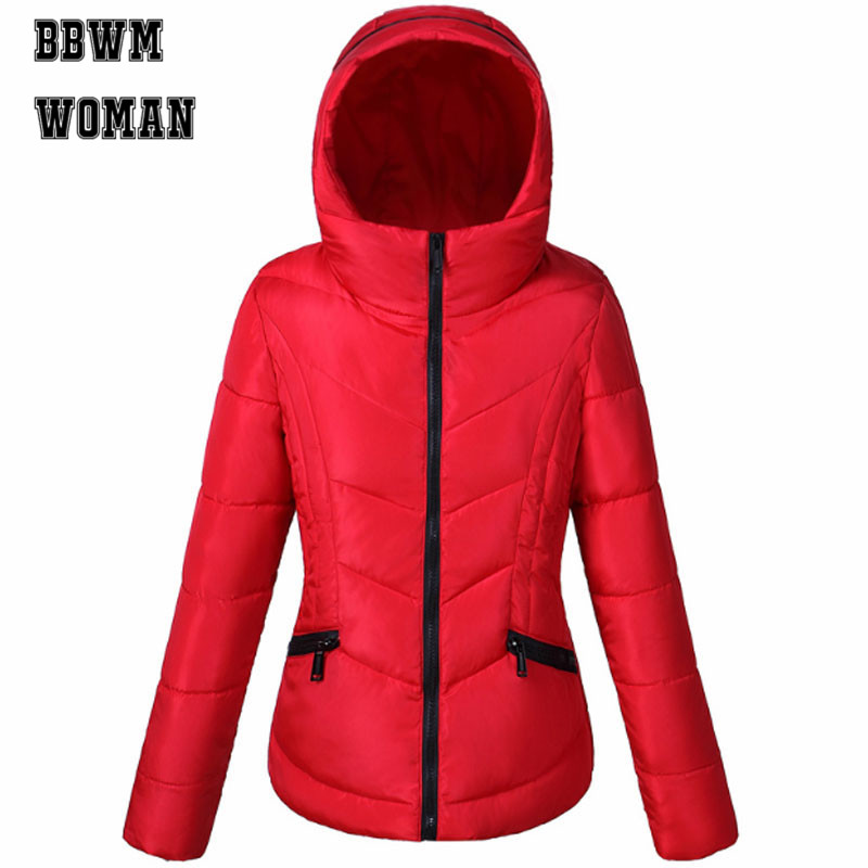 2019 Stock Discount Short Women Parkas Winter Lady Thick Padded Warm Pocket Coat Zipper Tops