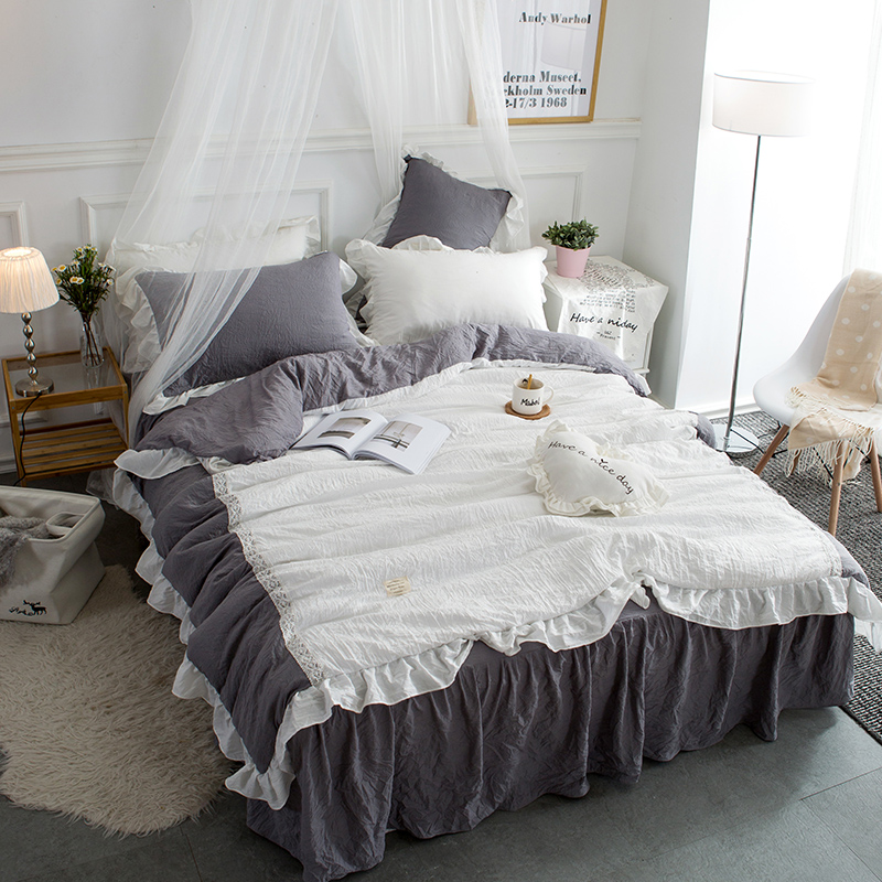 4Pcs washed modal Patchwork lace pure Bedding Set Cool summer Queen King size Duvet cover set Bed skirt Pillowcases bed linen