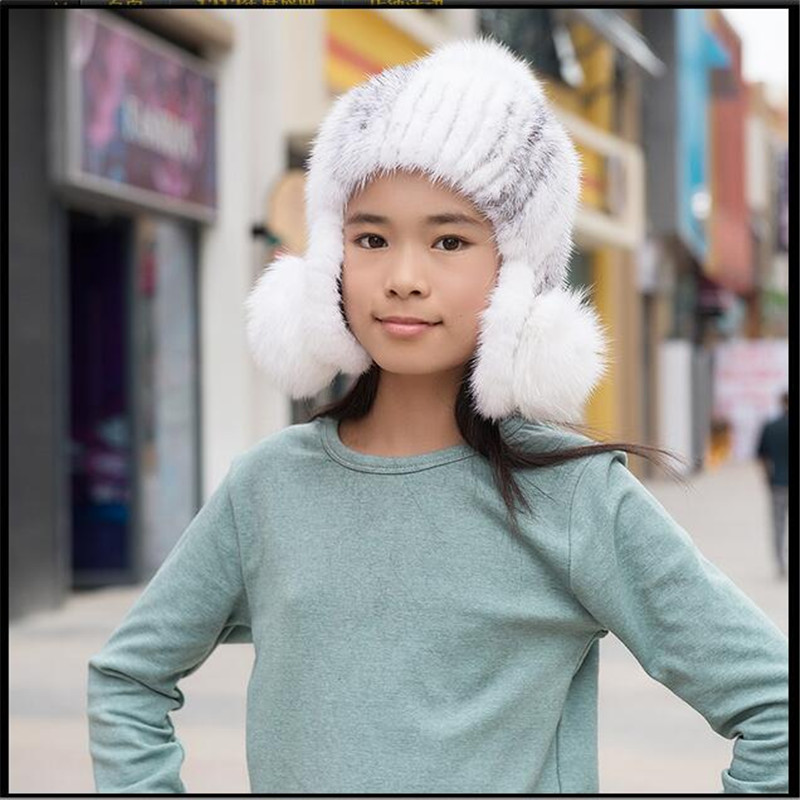 New Fashion 2016 Russian Children Girls Mink Knitted Hat with Fox Fur Ball Pompoms Autumn Winter Warm Solid Hats baby Fur Caps new autumn winter warm children fur hat women parent child real raccoon hat with two tails mongolia fur hat cute round hat cap