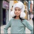 Nova moda 2016 crianças russas meninas chapéu feito malha do vison com fox Bola Pompons de pele Outono Inverno Quente Sólidos Chapéus do bebê Bonés De Pele
