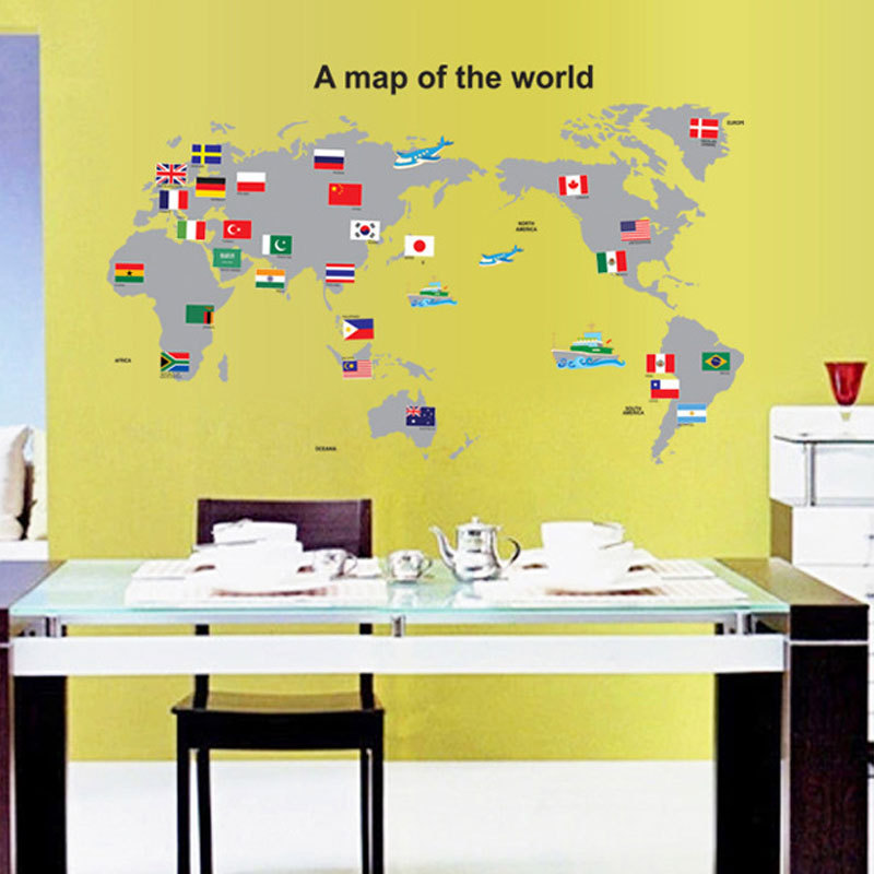 Large World Map Wall Stickers Creative Flag Map Wall Art Bedroom ...