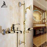 Смесители для душа настенный душевой комплекты Ванная комната Золотой латунь смеситель для душа с горкой бар ручной мыльница 9107 г
