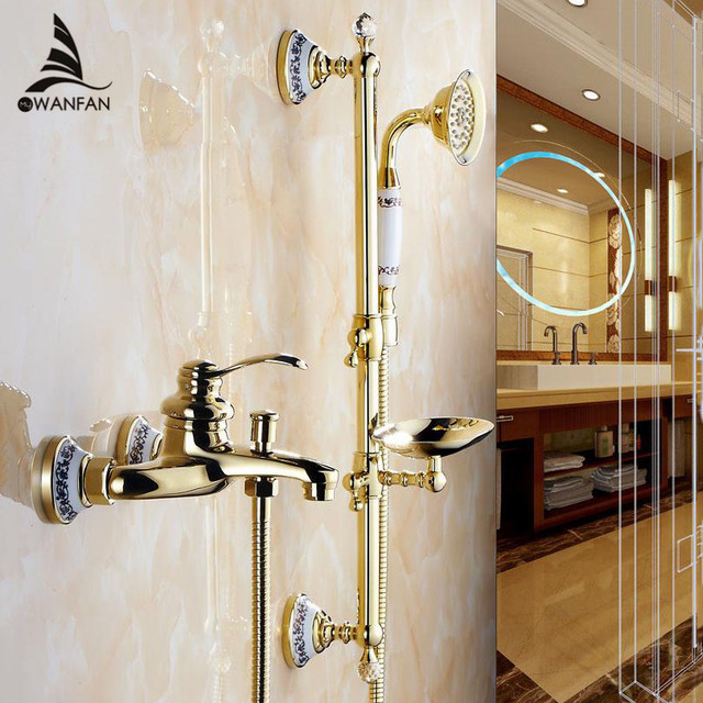 Shower Faucets Wall Mounted Bath Sets Bathroom Golden Br Faucet With Slide Bar