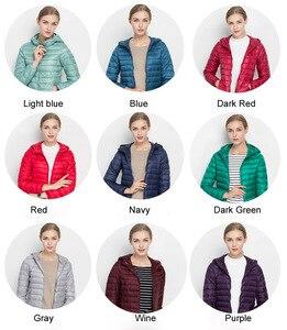 Image 4 - Winter Women Ultra Light Down Jacket 90% White Duck Down Hooded Jackets Warm Coat Parka Female Portable Outwear Windbreaker