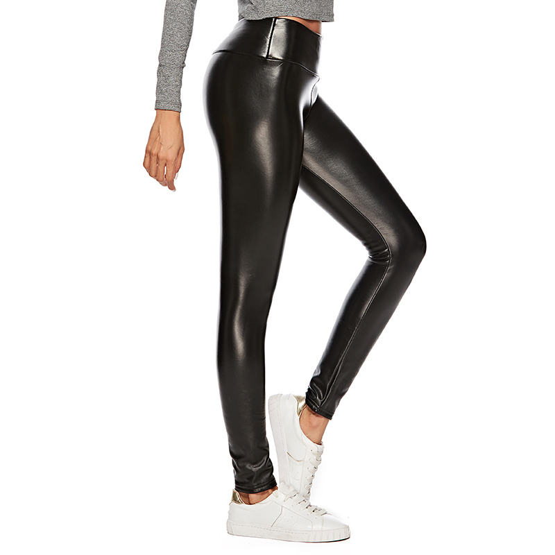 Plus Size 3XL 4XL Sexy Faux Leather Push Up Pants Spring Summer Slim Trousers Elastic High Waist Women Casual Leggings