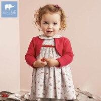 DB5527 Dave Bella Baby Girl Lolita Dress Stylish Printed Peter Pan Collar Dress Toddler Children Dress