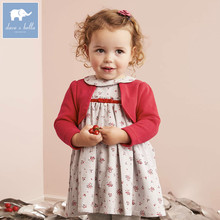 DB5527 dave bella baby girl lolita dress stylish printed peter pan collar dress toddler children dress