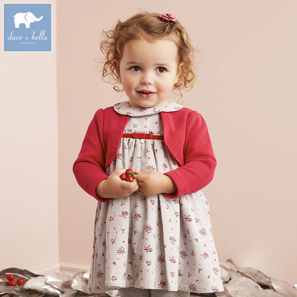 DB5527 dave bella baby girl lolita dress stylish printed peter pan collar dress toddler  ...