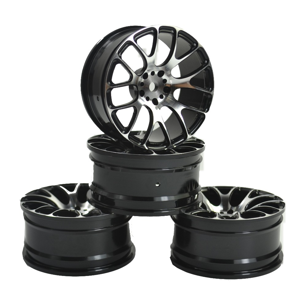 4PCS RC 1:10 On-Road Drift Racing Aluminum  Wheel Rim Fit HSP HPI Kyosho 1:10 On-Road Car Wheel Rim aluminum 6 spoke wheel rim for 1 10 rc on road racing car