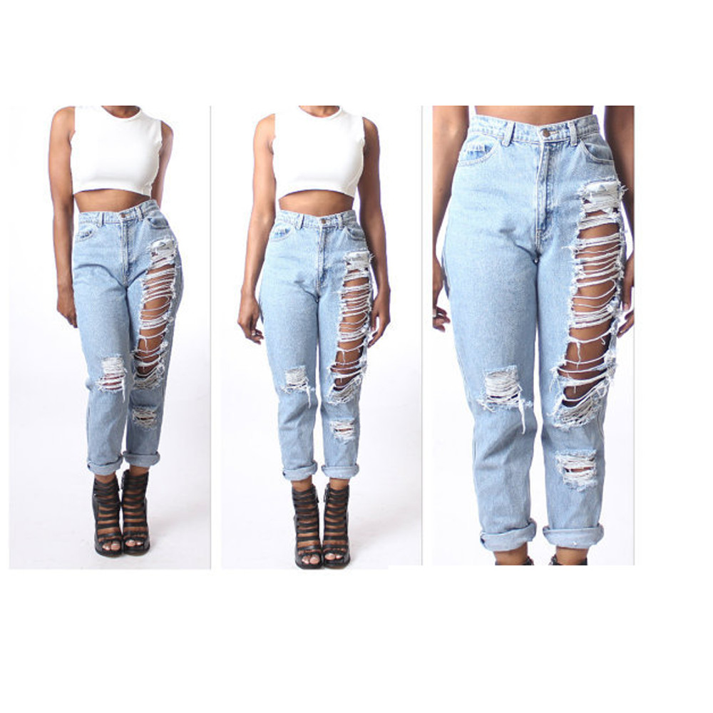 Spring Summer Fashion Cotton Jeans Womens Loose High Waist Washed Vintage Big Hole Ripped Long Denim Pants Sexy Girls Trousers spring new fashion cotton jeans women loose high waist washed vintage big hole ripped ankle length denim straight pants mz1535