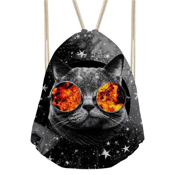 Noisydesigns Dropshipping 2018 Cool Glasses Cat Drawstring Backpack Women Beach Bags Rucksack Mini Travel Feminine Backpacks
