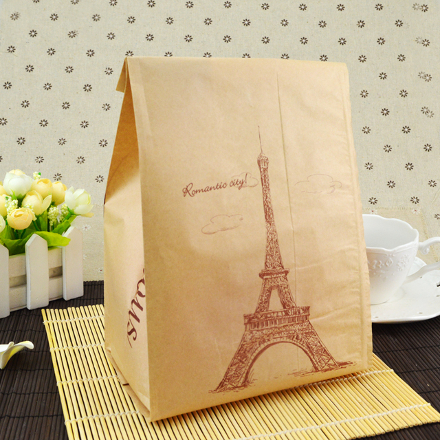 100pcs 16x11x33cm Eco Friendly Kraft Greaseproof Paper Bags For Graham Bread Toast Biscuits Food Packaging