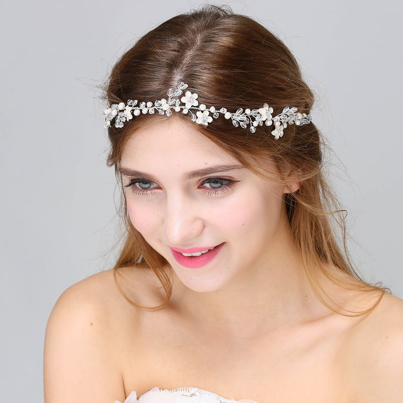Charm Wedding Hair Jewelry Headpiece Bridal Bridesmaid Tiara Headband For Women Simulated Pearls Crystal Crown Accessories Girls In From