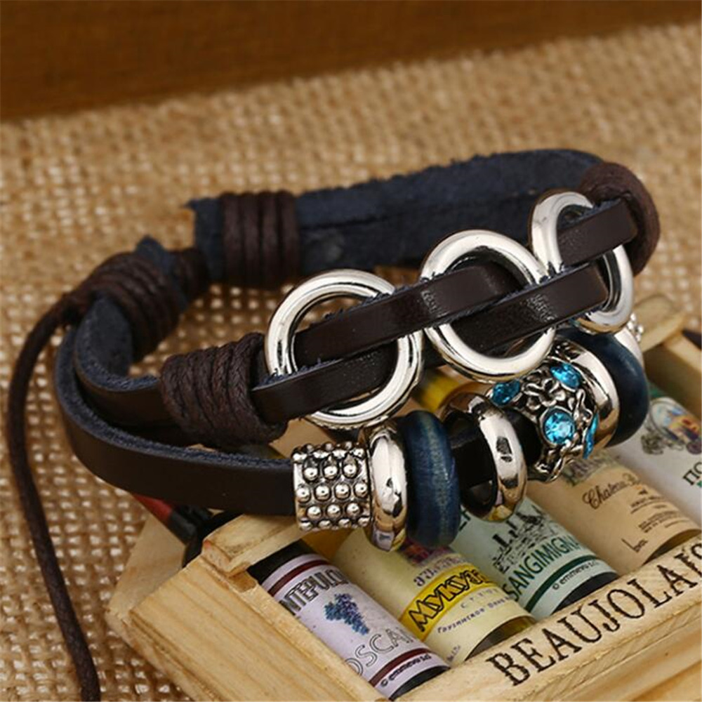 New Style Black Leather Crystal Bohemia Beads Charm Bracelets For Women Men Adjustable Braided Wristband Cuff Jewelry B015