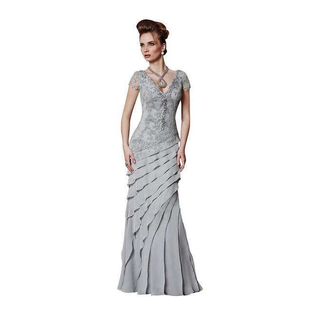 Prata elegante Plus Size mãe da noiva vestidos de casamento 2016 Sexy V pescoço em camadas apliques longo Prom vestido