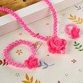 ZOSHI Kids Del Bebé del Sol de Cuentas Collar de Flores Pulsera Anillo de la Joyería de Perlas de Imitación Set Partido de Los Niños de Regalo Precio Al Por Mayor