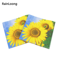 [RainLoong] Print Sunflower Paper Napkins Event u0026 Party Tissue Cocktails Napkins Decoration Serviettes 33  sc 1 st  AliExpress.com & Buy sunflower paper napkins and get free shipping on AliExpress.com