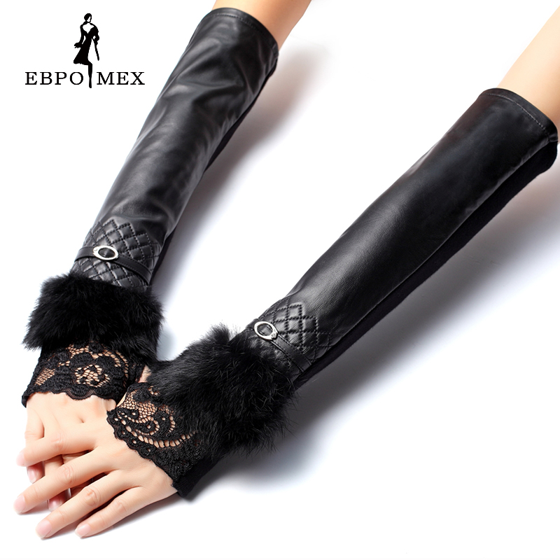 Leather Gloves,free Shipping Reliable Performance genuine Leather,length 40-50cm,cotton,adult,true Black Fur Gloves,spandex Purposeful Long Gloves