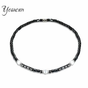 Yesucan Frauen Gesundheit Energie Healing Halskette Schwarz Hämatit Magnetfeldtherapie Perlen Halsketten für Männer Schmuck Collier Halskette