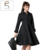 2016 señoras en relieve noble de freno grande falda de invierno de las mujeres wadded prendas de vestir exteriores de las mujeres chaqueta larga de algodón acolchado