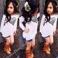 2016 New summer girls clothing set 2pcs white love print long sleeve T-shirt + Denim shorts toddler girl clothing kids clothes