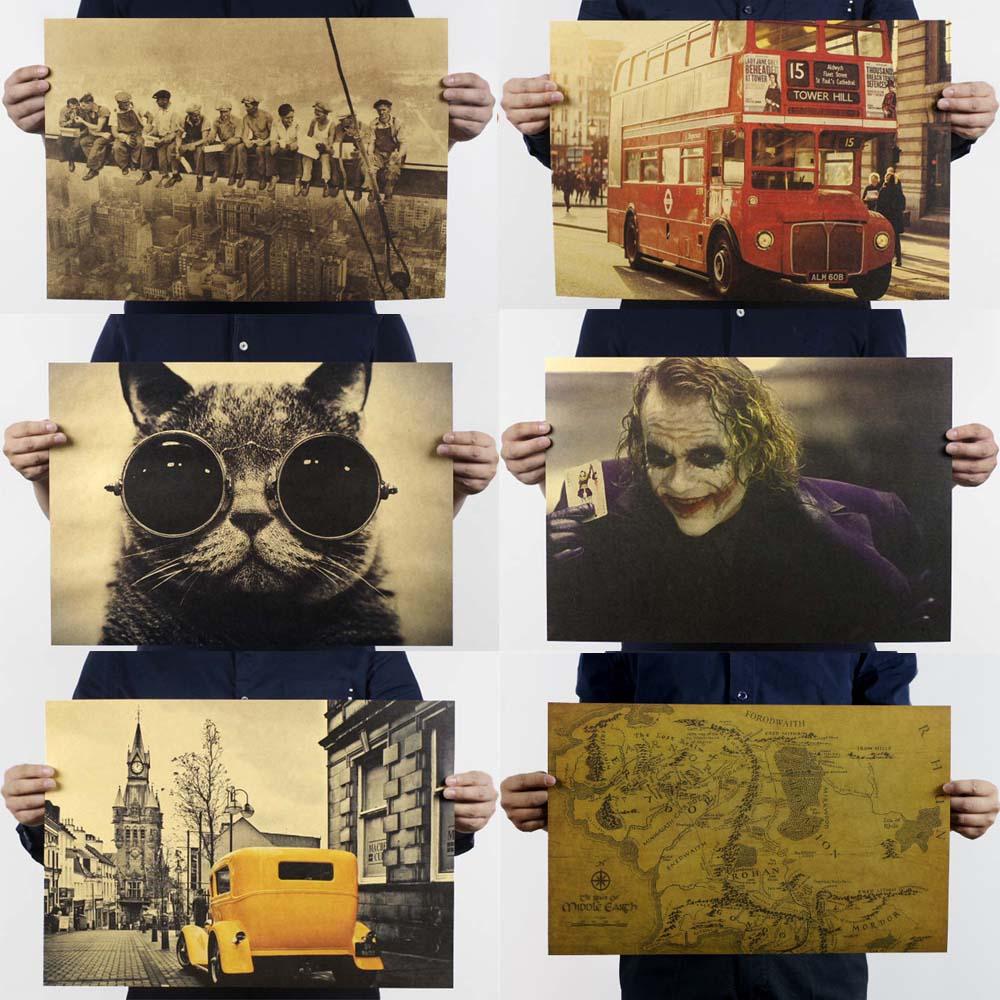 Фильм ретро постер винтажный аниме автомобиль плакаты и принты кофе кухня гостиная декоративная живопись крафт-бумага наклейки на стену