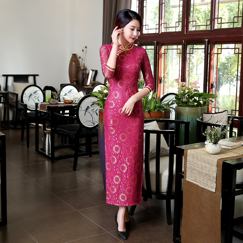 Hot pink Vintage font b Women s b font Lace Long Cheongsam font b Fashion b