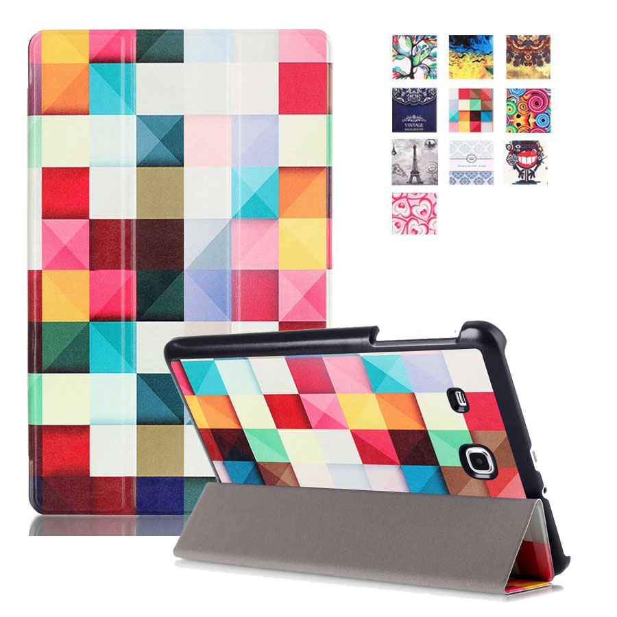 For Samsung Tab E 9.6 Case New Fashion Colorful Painting PU Leather Cover Cases for Samsung Galaxy Tab E9.6 INCH SM-T560 T561 bf luxury tablet case for samsung galaxy tab e 9 6 sm t560 sm t561 t560 t561 pu leather flip cute book stand cover protector