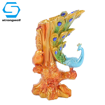 Creative Peacock Candlestick Miniatures Figurine Resin Crafts Model Desktop Home Decoration Accessories Borthday Gift Kids Toy