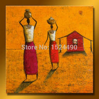 Handpainted Modern Abstract Oil Paintings African Women People Canvas Pictures For Living Room Decoration Unframed Set