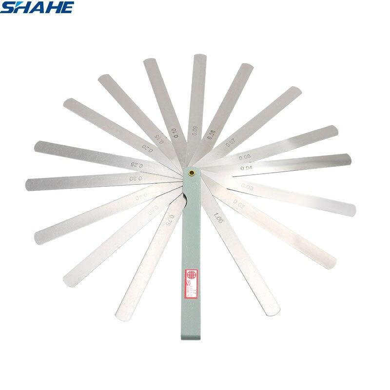 SHAHE Portable 150 Mm Length 17 Blades Feeler Gauge Metric Feeler Gauge 0.02-1.00 Mm Measurement  Tool