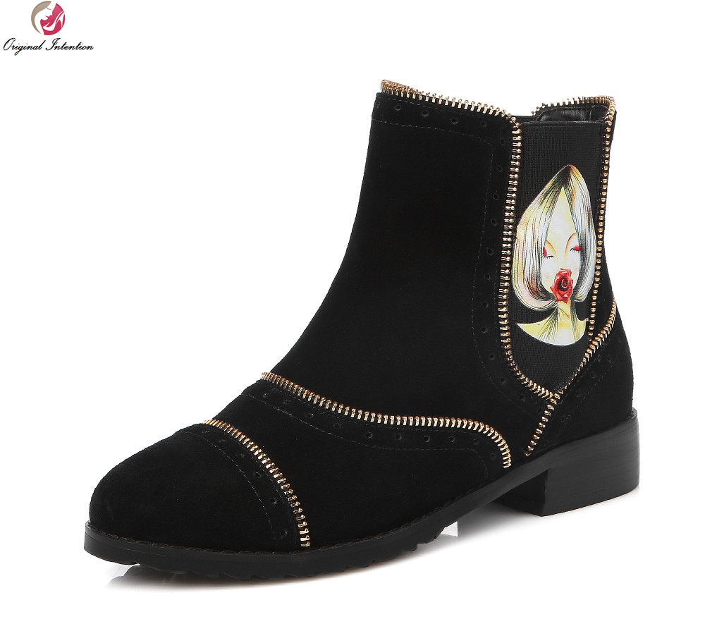 Original Intention Design Women Ankle Boots Fashion Chains Round Toe Square Heels Boots Fashion Black Shoes Woman US Size 4-13