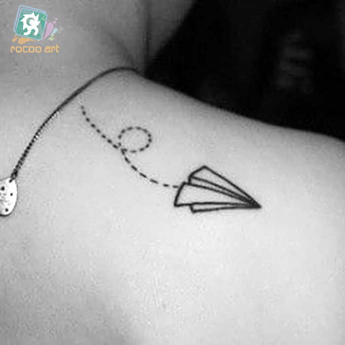 Rocooart HC79 papierowy samolot tymczasowy tatuaż naklejki kobiety Sexy ramię Flash tatuaż mężczyźni Tatuagem na tatuaże do ciała Taty fałszywe Tatto