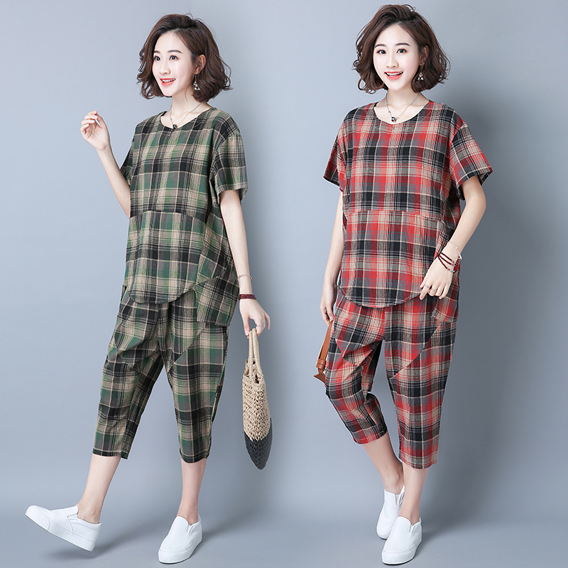 2019 Summer Plaid Cotton Linen Two Piece Sets Outfits Women Plus Size Short Sleeve Tops And Cropped Pants Casual Suits Red Green 36