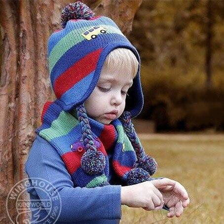 WD0033, шарф для маленьких мальчиков, шапка, набор, цветная полосатая шапка с помпонами, теплая зимняя вязаная шапка с ушками