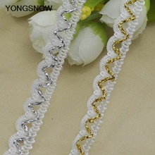 5m/lot Lace Trim Fabric Ribbon DIY Sewing Craft Gold Silver Centipede Braided Lace Ribbon