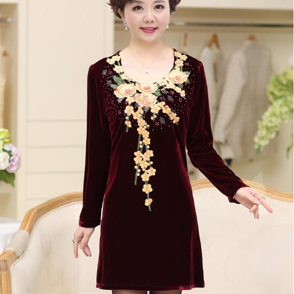 Ethnic 2019 Winter Knee-length Elegant Floral Embroidered A-line Dress  Velvet Middle Age. US  19.70. (1). 3 orders. 2017 Autumn Women Plus size ... a41510dfafae