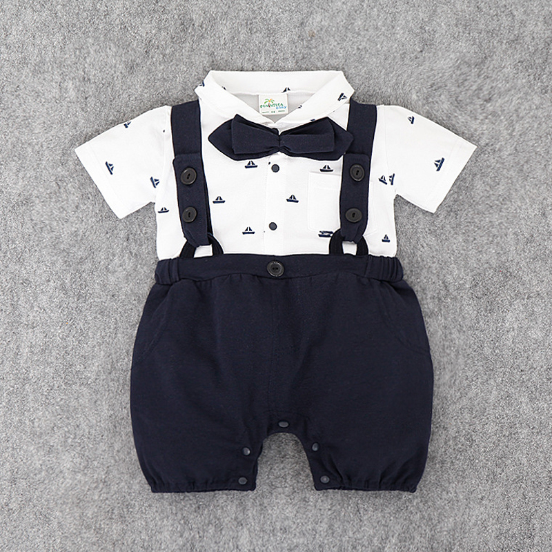 Baby Boy Rompers Cotton Tie Gentleman Suit Bow Leisure Body Suit Clothing Toddler Jumpsuit Baby Boys Brand Clothes B0730 white black rompers baby bow tie romper cotton recem nascido jumpsuit baby onesie vestido infantil baby boy costume kd315